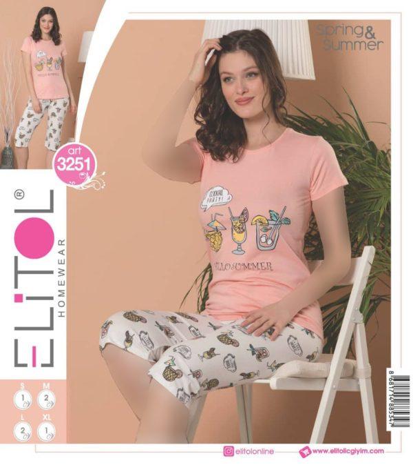 تیشرت شلوارک زنانه برند Elitol مدل 3251
